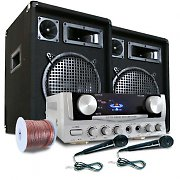 """READY 2 GO"" PA Set Speakers Microphones + 400W Amp"
