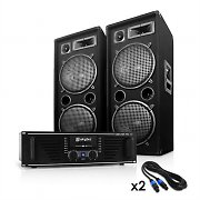 DJ PA Set 1000 Watt System with Amplifier, Speakers & Cables