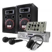 DJ PA Set 1000W speakers amplifier mixer Headphone Mic