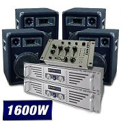 DJ PA System 2x Amplifiers, 4 x Speakers, Mixer 1600W Package