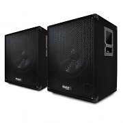 Pair of Ibiza 15 inch Active Subwoofers Bass Bin Speakers