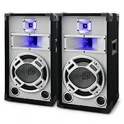 "Pair Skytec White with Blue LED 10"" Passive DJ PA Speakers"