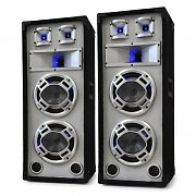 "Skytec Passive PA Speakers Dual 8"" Bass Drivers - White 1200W Pair"