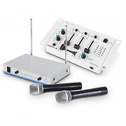 Wireless Microphone Set with 3 Channel Mixer White