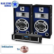 PA System Blue Star Series 'Beatbass I' 800W Speakers & Amp Package