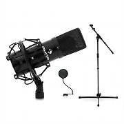 DJ PA Stage & Studio Microphone Set with Microphone, Stand and Pop Filter
