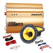 "Auna 2.0 Car HiFi Set Golden Race V2 -  6.5"" Speakers & Amplifier Set 2200W"
