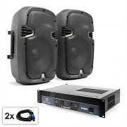"""PA Set """"SPJ Boom"""" Pair of 10"""" (25 cm) Speakers and Amplifier 800 W"""
