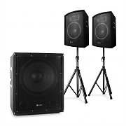 """Skytec 2.1 Active PA DJ Set with Bi-Amp Suboofer, Pair of 10"""" Speakers & Stands"""