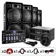 DJ PA Set 'Bass First Pro Bluetooth' 2x Amp 4 x Boxes Mixer 4000W
