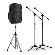"""Malone PW-2912 Mobile 12"""" Active PA Speaker VHF Mic Musicians Complete Set"""