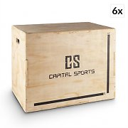 """Capital Sports Shineater BL 6 Piece Set Plyo Box 3 Heights 20"""" 24"""" 30"""" Wood"""