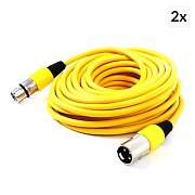 FrontStage XLR Cable Set 2-Piece 10m Yellow Male to Female
