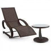Blumfeldt Daybreak Swing Lounger + Table Set Wicker Optics Brown