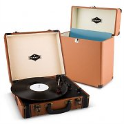 auna Jerry Lee Record Collector Set Brown | Retro Record Player | Record Case