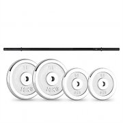CAPITAL SPORTS weight disc set 30kg with straightbar 2 x 5 kg + 2 x 10 kg