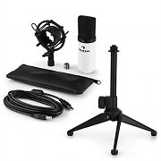 auna MIC-900WH USB Microphone Set V1 | White Condenser Microphone | Tabletop Stand