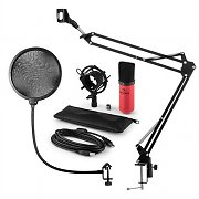 auna MIC-900RD USB Microphone Set V4 Condenser Design Pop-Protection Microphone Arm red