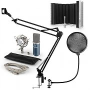 auna MIC-900BL USB Microphone Set V3 Condenser Pop Filter Microphone + Microphone Shield Blue