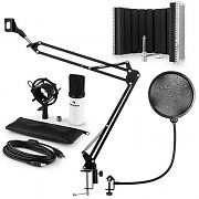 auna MIC-900WH USB Microphone Set V5 Condenser Pop Filter Microphone Shield Arm White