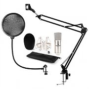 auna CM001S Microphone Set V4 Condenser Microphone Microphone Arm POP Protection Silver