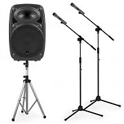 """auna Streetstar 12 Mobile PA System Set 12"""" PA Speaker Stand 2 x Microphone Stand"""