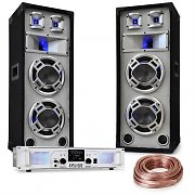 "DJ PA Set ""White Noise"" 2x500W Amplifier 600W PA Speakers Speaker Cable"