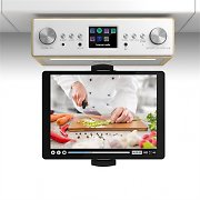 "auna Connect Soundchef Kitchen Radio with Tablet Holder DAB + FM 2x3"" Boxes Beech"