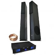 690W Home Hifi Cinema Tower Speakers 1000W 3 Band EQ Power MP3 Pre-Amplifier